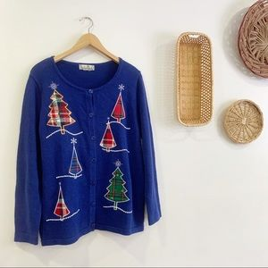 Vintage Christmas Tree Cardigan Sweater